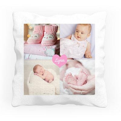 Gepersonaliseerde kraamcadeaus; Persoonlijk geboortekussen bedrukt met foto of afbeelding