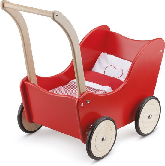 Houten poppenwagen kopen; Houten speelgoed voor kinderen met een open einde